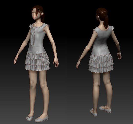 girl in dress 3d model ztl 1