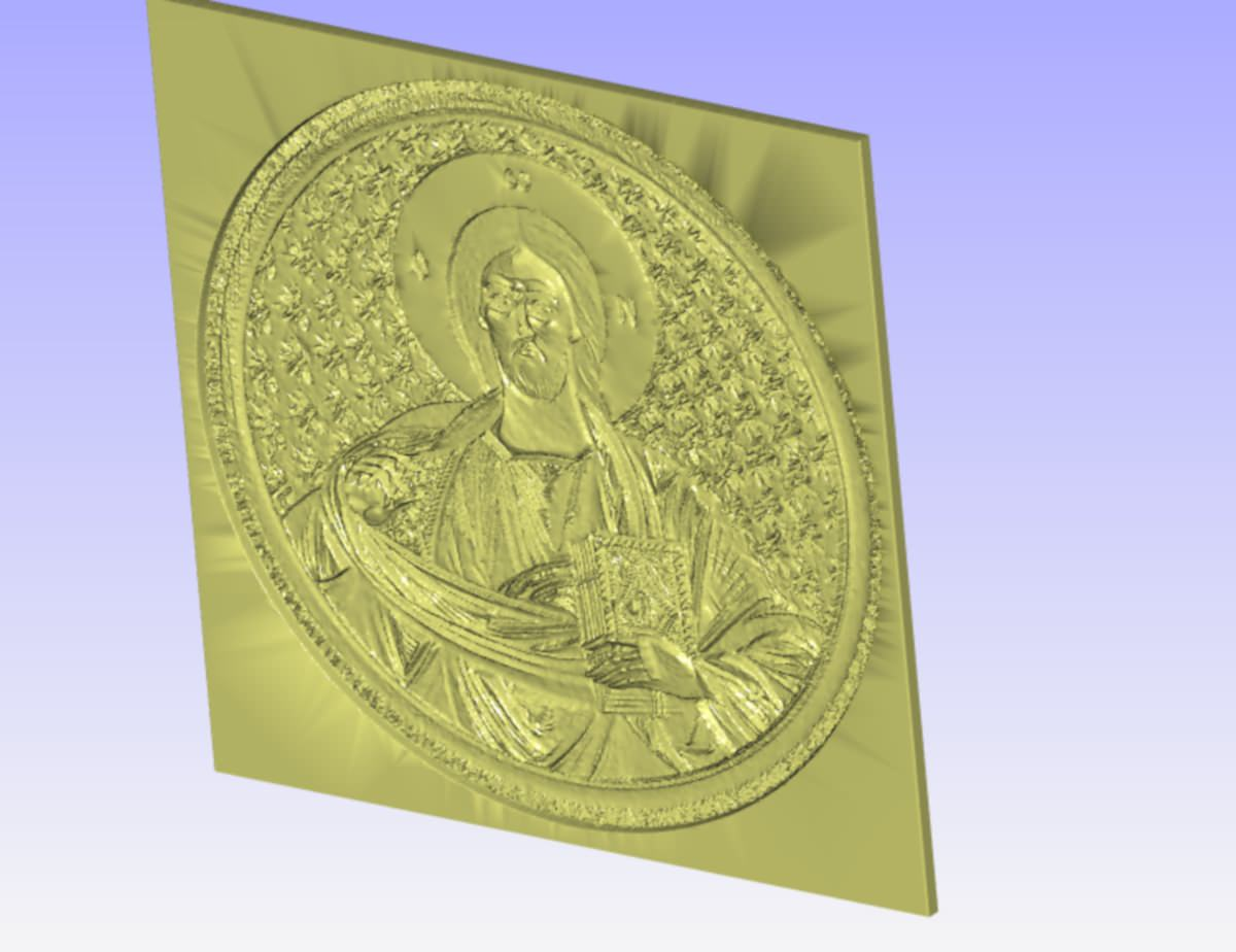 Pantocrator relief for cnc carving d model stl