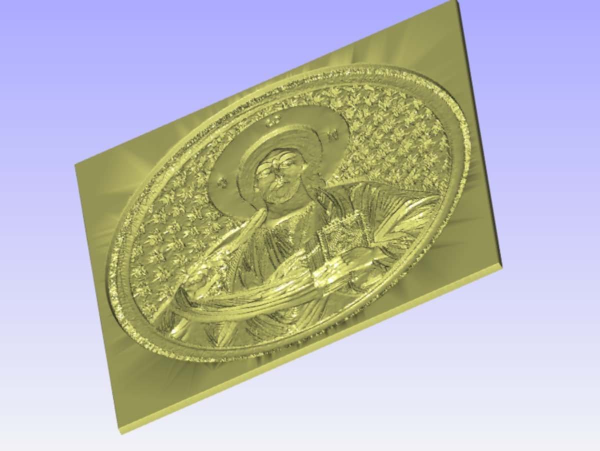 Pantocrator relief for cnc carving d model stl