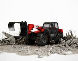 Industrial Red Tractor 3D model