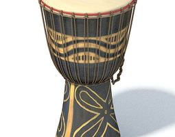 3d model african style black and tan drum