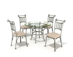 glasstop wireframe table set 3d