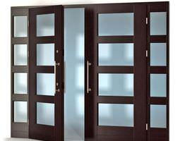 modern chestnut colored door 3d model