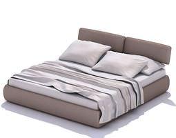 3D model Grey Queen Bed