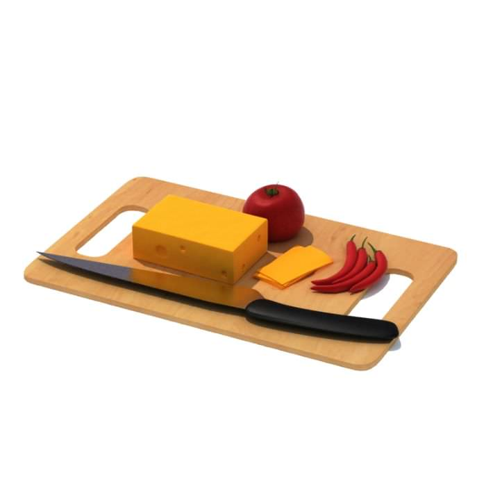 Wooden Chopping Board With Orange Cheese Tomatoes And Chillie...