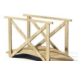 3D Wooden Bridge With Rails