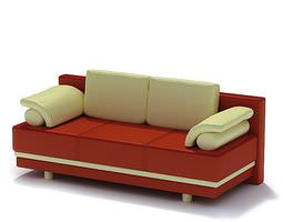 3D model Retro Cream And Red Livingroom Sofa