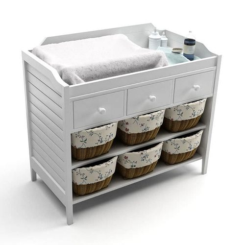 White Baby Changing Table 3D Model
