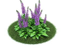 3d model green purple flower shrub