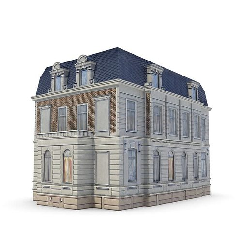 Old english looking building with light brick and blue for Exterior 3d model