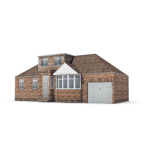 Modern big lightly brown house big garage 3d model for House with big garage