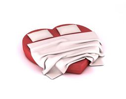 Red Heart Shaped Mattress Bed 3D Model