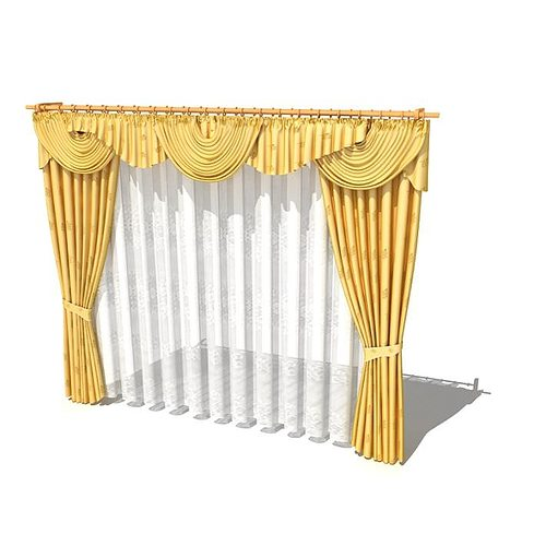 Elegant Curtain With Valance And Sheer 3D Model
