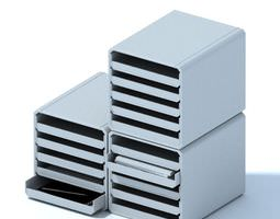 Office Stacked Trays With Sliding Trays 3D