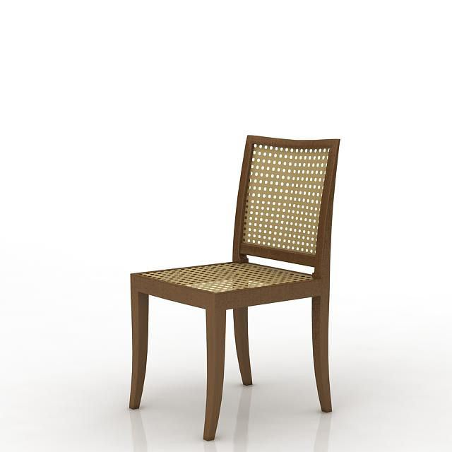 dark wood lattice dining room chair 3d model