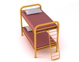 metal bunk bed with ladder 3d model