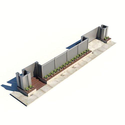 outside building wall 3d model obj mtl 1