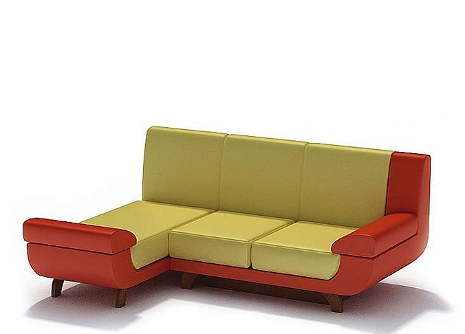 designer retro sofa 3d model. Black Bedroom Furniture Sets. Home Design Ideas