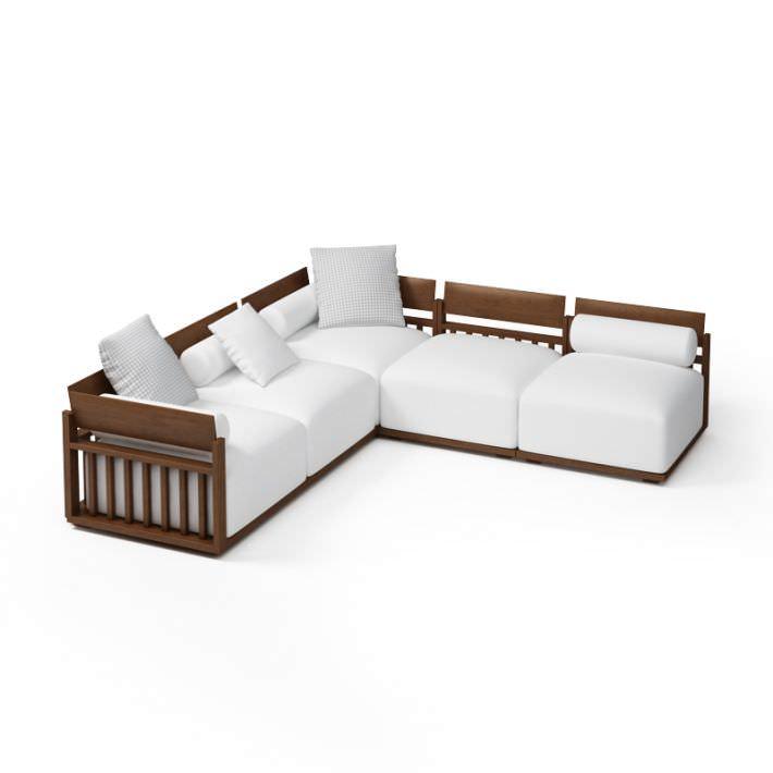 Wood Frame Sectional Sofa 3d Model