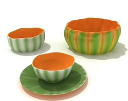 3d melon pattern serving bowl with matching plates and soup bowls