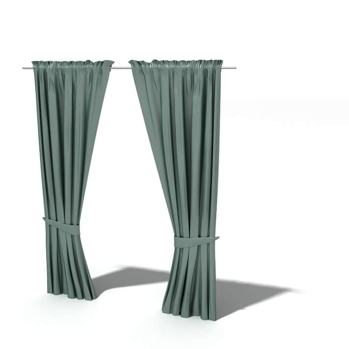 Teal Drawn Curtains 3d Model 1