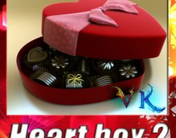 Chocolate Candy Pieces in Heart Box 3D Model