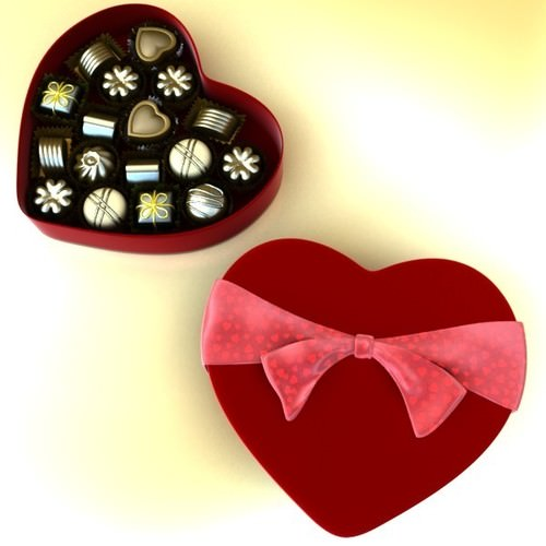 Chocolate Candy Pieces in Heart Box 3D Model .max .obj .3ds .fbx