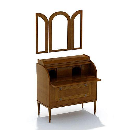 Oak wood dresser bureau with folding mirror 3d model max for Bureau with mirror