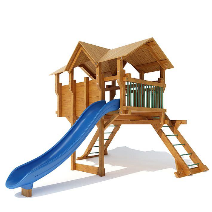 Wooden Outdoor Playground Equipment 3d Model Cgtrader Com