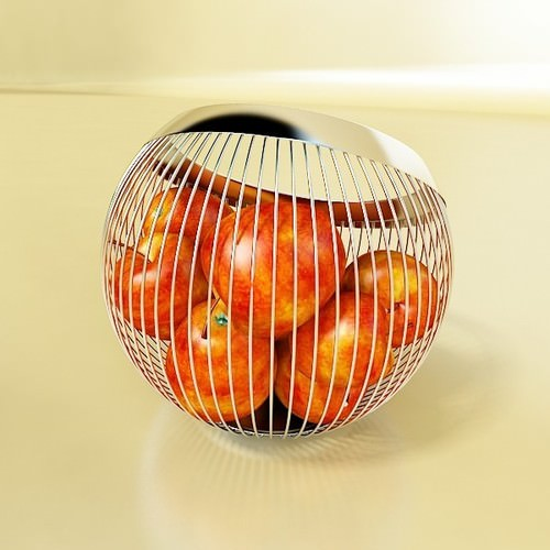 Red Apples in Decorative Metal Wire Container 3D Model .max .obj .3ds .fbx