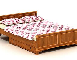 3D Retro Wooden Grained Bed