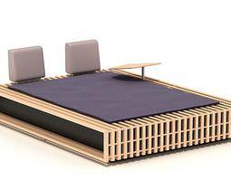 Wooden Queen Bed 3D