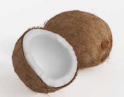 One Whole Coconut And One Half Of A Coconut 3D Model