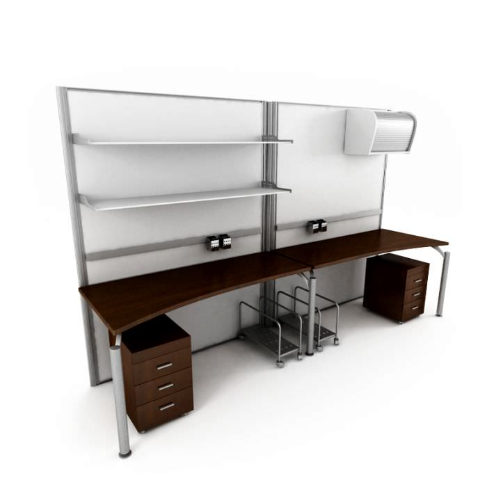 Basic 2 Person Office Desk With 2 Matching 3d Model