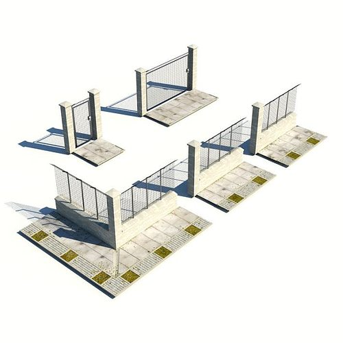 3D Model Metal And Stone Fence And Gates CGTrader