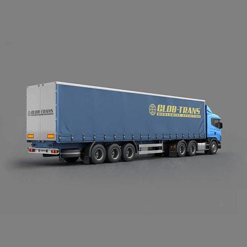 blue glob trans semi truck 3d model max obj 3ds fbx c4d 1