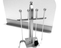 silver fireplace tool set 3d model