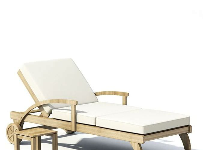 Cream Wood Outdoor Lounge Chair With White 3D Model CGTrader
