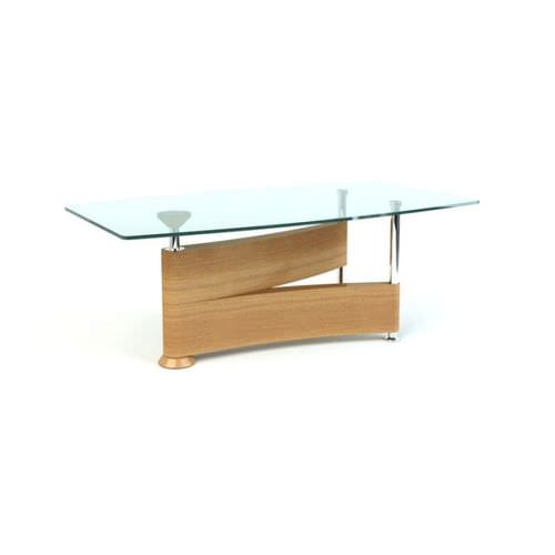Natural Wood And Glass Coffee Table 3D Model