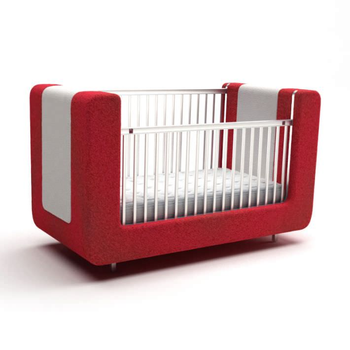 Red And White Sofa Style Baby Crib 3d Model