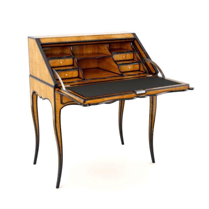 antique wooden escritoire letter desk 3d model obj mtl 1 - Antique Wooden Escritoire Letter Desk 3D CGTrader