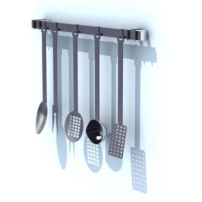 Kitchen Utensil Rack With Tools 3d Model 1