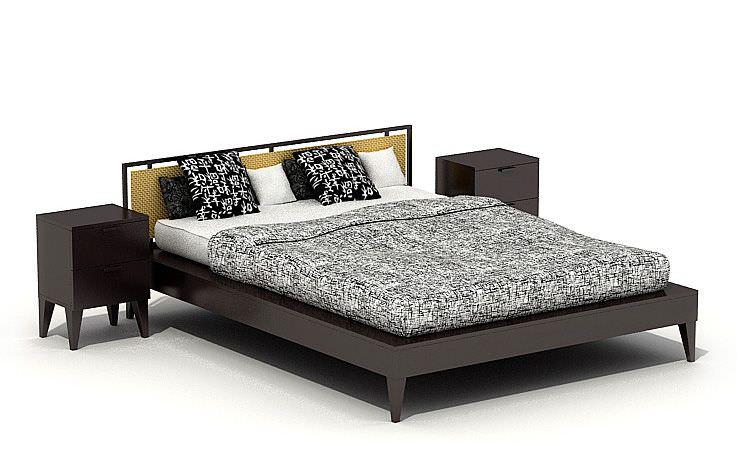 Modern Black Bedroom Set 3D Model