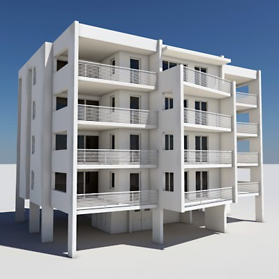 Apartment building 04 3d model max obj 3ds lwo lw for The model apartment