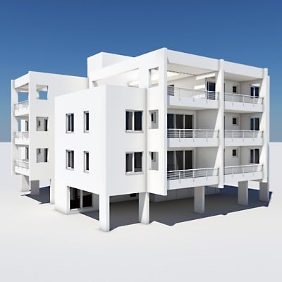 Apartment building 05 3d model max obj 3ds lwo lw for Apartment 3d model