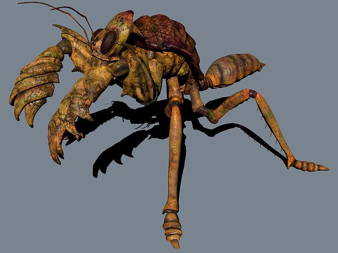the mole mantis 3d model low-poly obj mtl 1