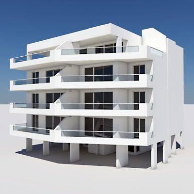 Apartment building 02 3d model max obj 3ds lwo lw for Apartment model house