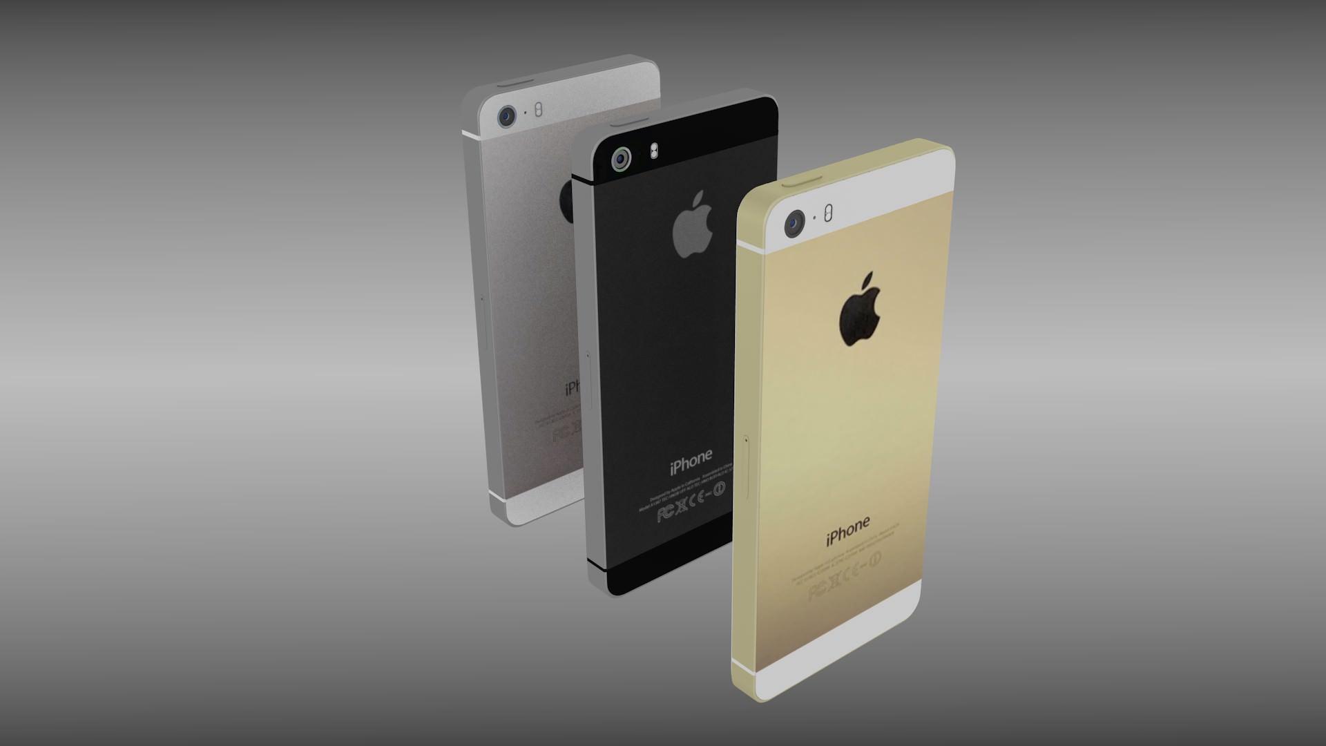 iphone 5s silver gray gold 3d model obj blend. Black Bedroom Furniture Sets. Home Design Ideas