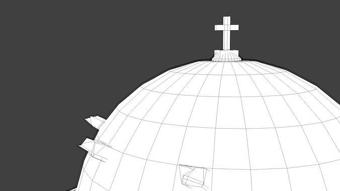 blue dome church in santorini 3d model obj 3ds fbx dxf stl blend 7