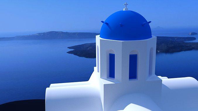 blue dome church in santorini 3d model obj 3ds fbx dxf stl blend 1